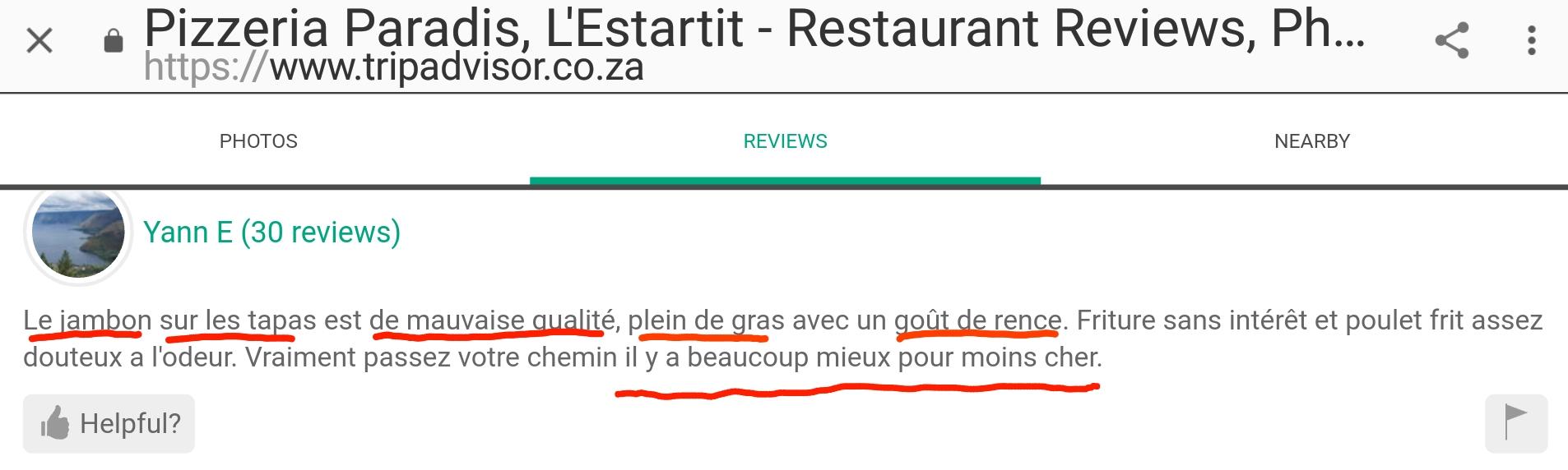 Pas qualite estartit paradis restaurant