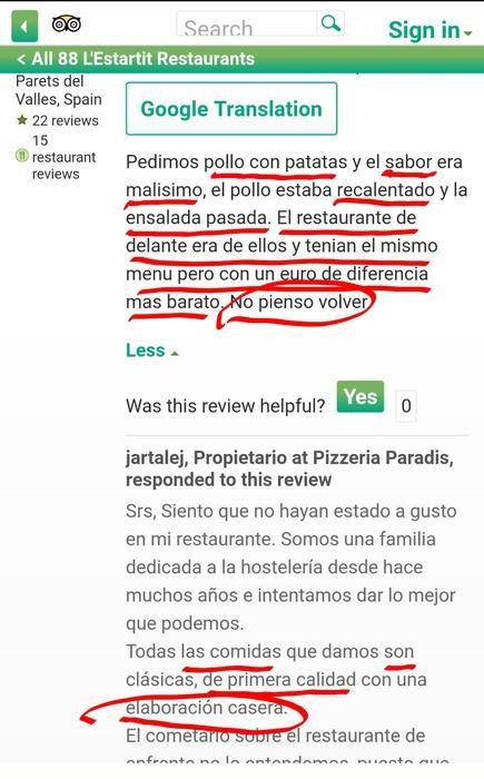 Pizzeria paradis estartit paella barat