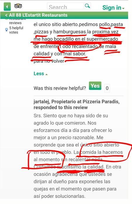 Pizzeria paradis l estartit pollastre hamburgueses