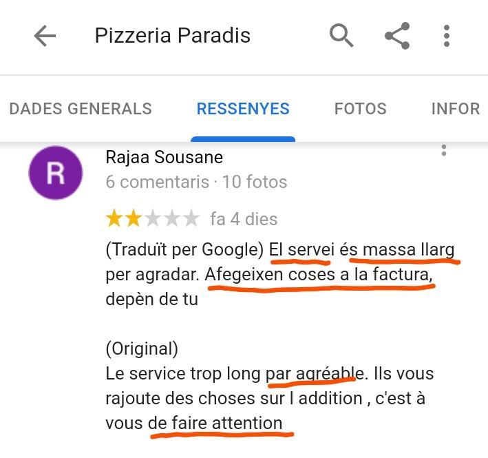 Pizzeria paradis l estartit