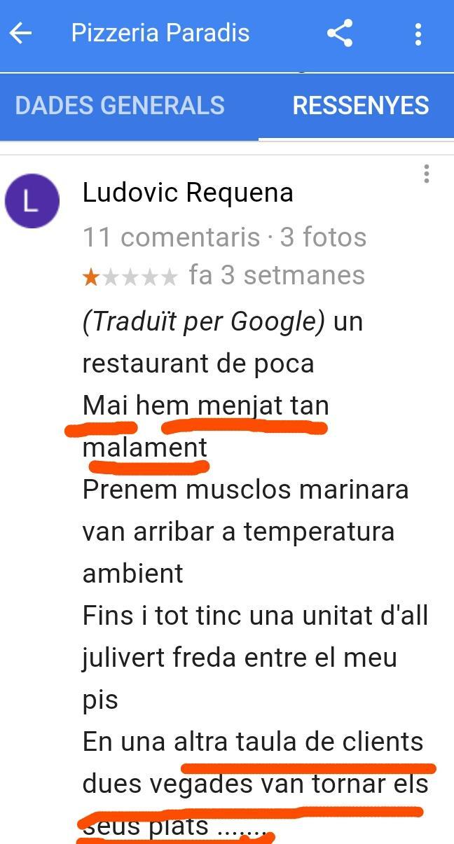 Pizzeria paradis restaurant estartit paella