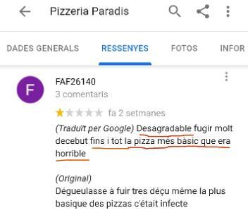 Pizzeria restaurant estartit paradis