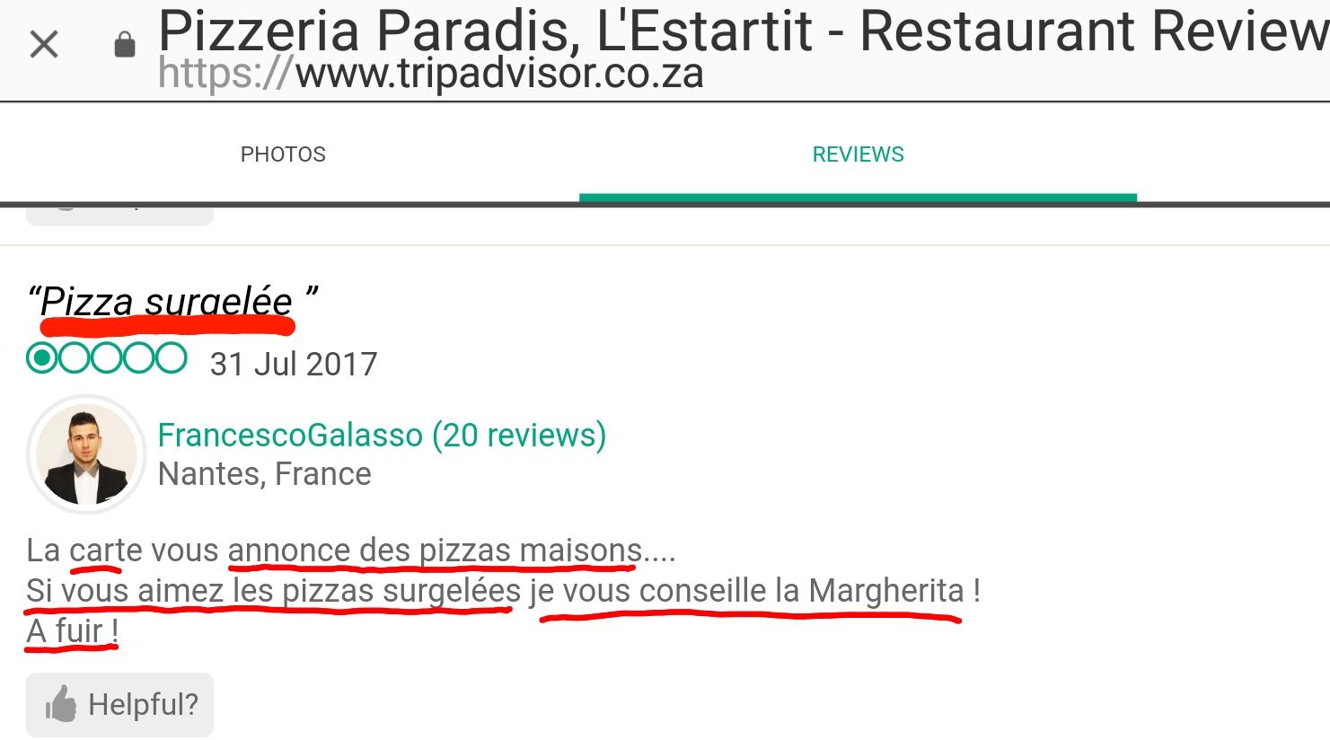Pizzes surgeles paradis estartit restaurant