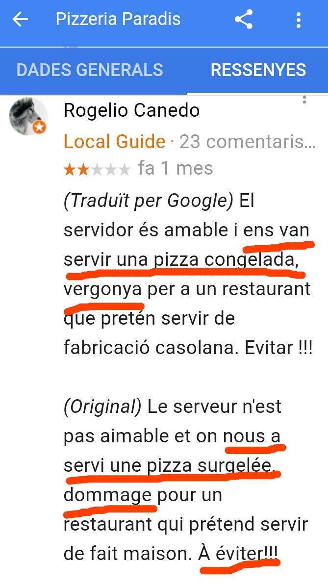Restaurant paella paradis estartit pizzeria