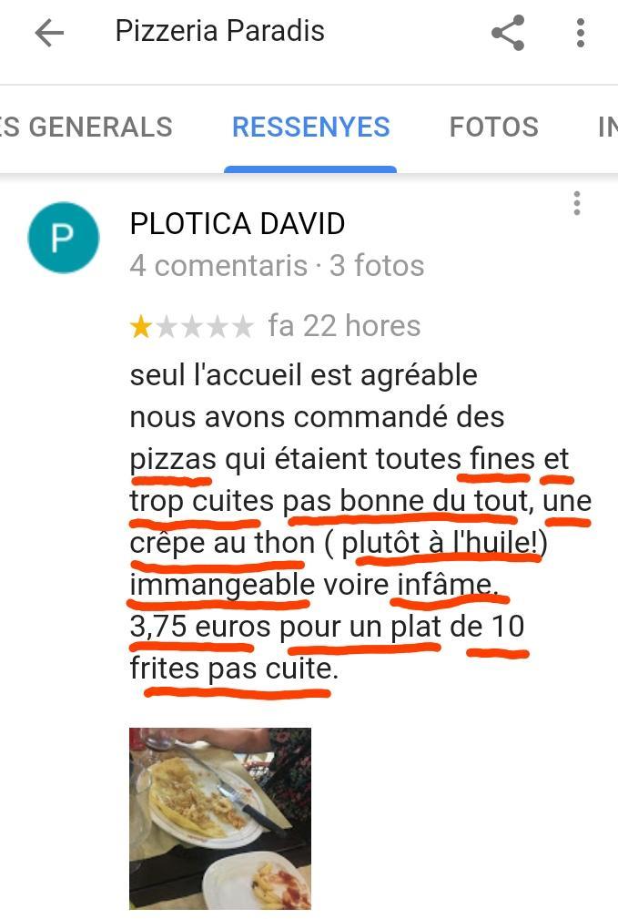 Paradis Pizzeria Opinion