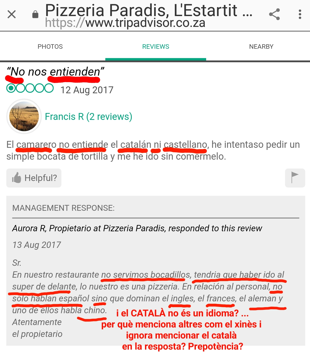 Pizzeria Paradis Estartit català